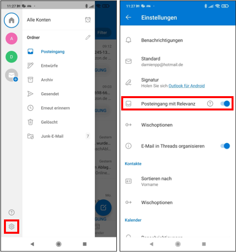 #Android #iOS #Microsoft #Outlook #MSOutlook Posteingang mit Relevanz ausblenden Posteingang m...png