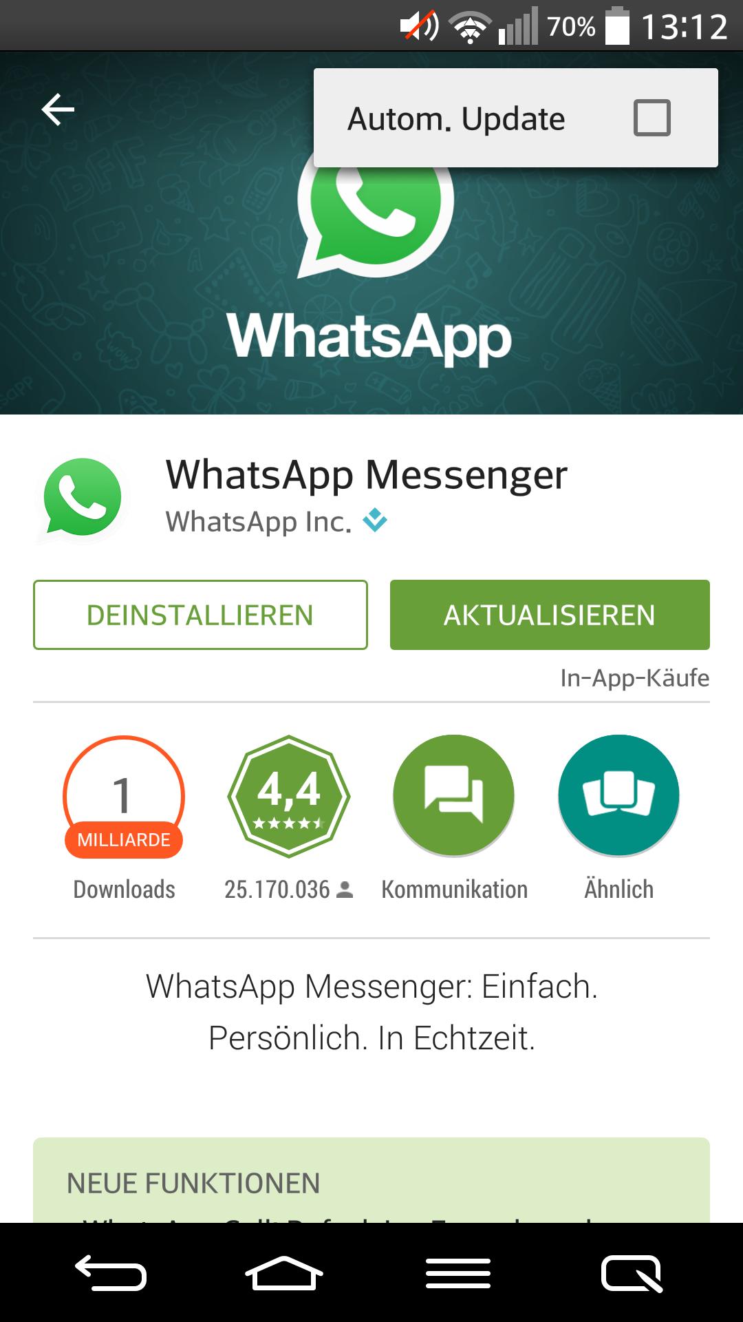 Whatsapp Aktuelles Update
