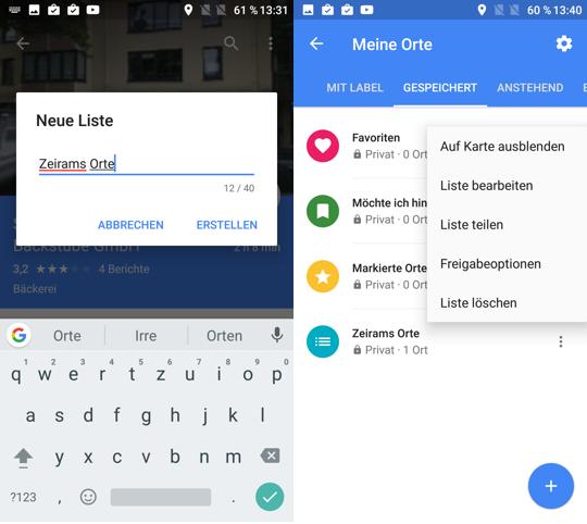 Google Maps Orte in eigenen Listen speichern, bearbeiten ...